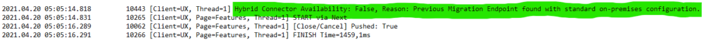 [Client=UX, Thread=1] Hybrid Connector Availability: False, Reason: Previous Migration Endpoint found with standard on-premises configuration.
